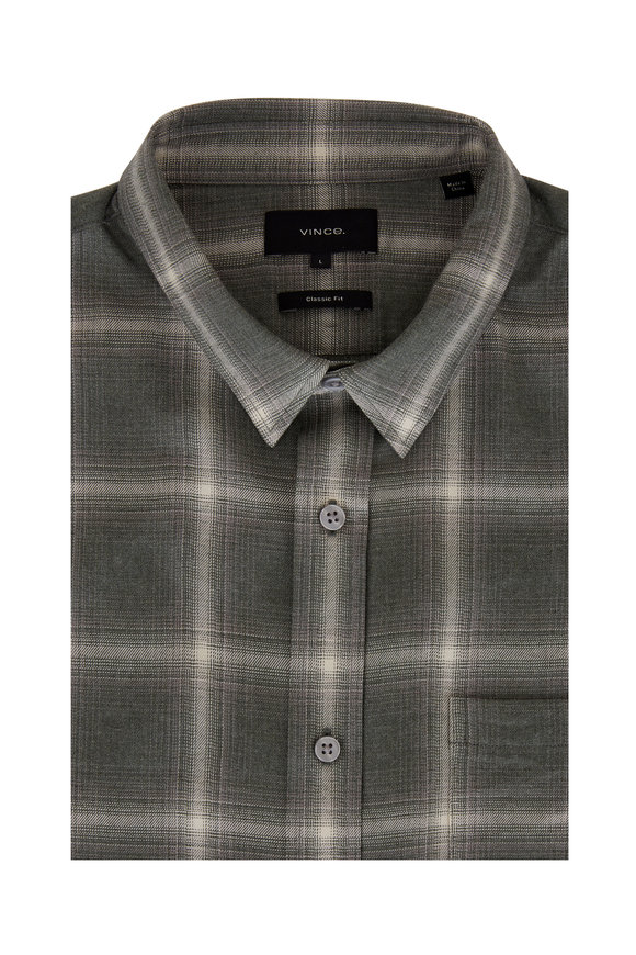 Vince Heather Green Ash Windowpane Plaid Sport Shirt