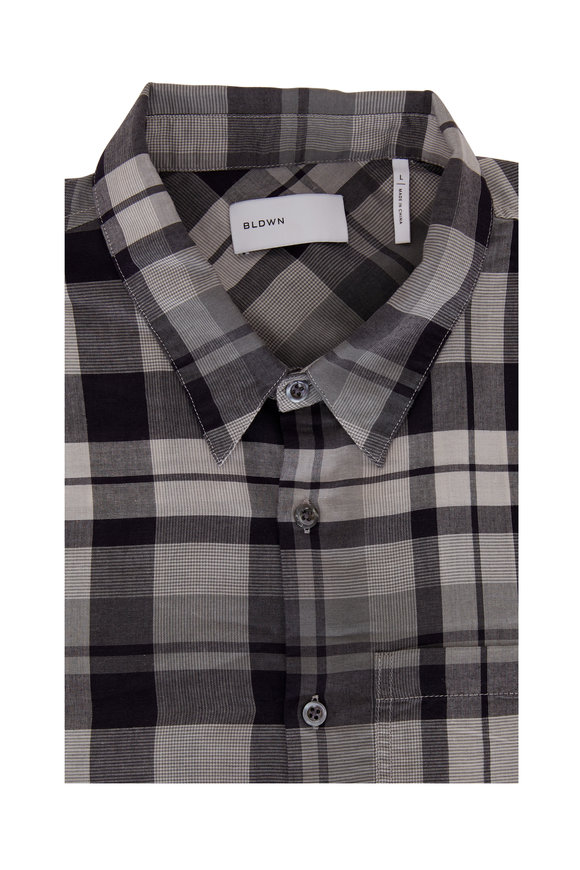 BLDWN Modern Classis Harrison Washed Black Plaid Shirt