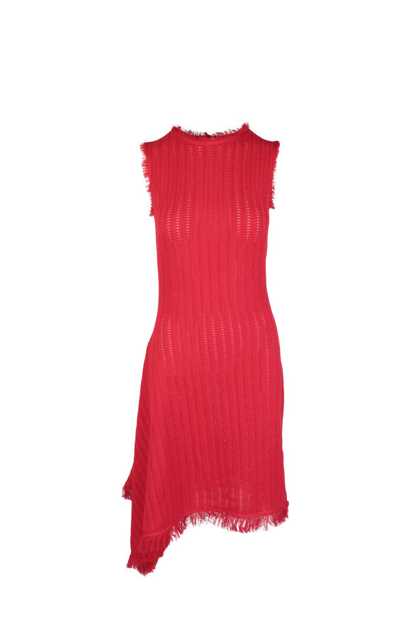 Oscar de la Renta Red Knit Fringe Trim Sleeveless Dress