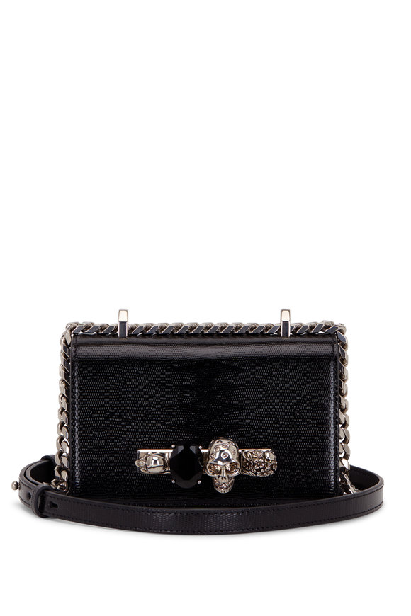 Alexander McQueen Black Lizard Embossed Leather Knuckle Mini Bag