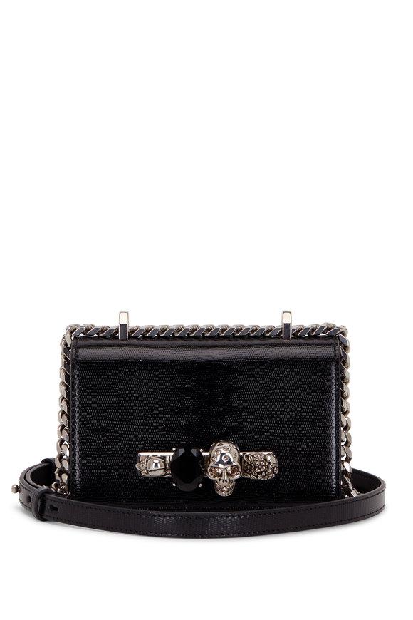 Alexander McQueen Black Lizard Embossed Leather Knuckle Mini Bag