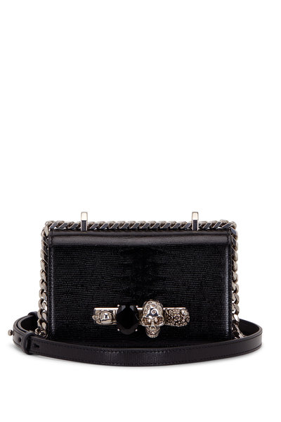 Alexander McQueen - Black Lizard Embossed Leather Knuckle Mini Bag