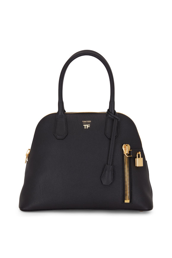 Tom Ford Alix Black Grained Leather Medium Dome Bag