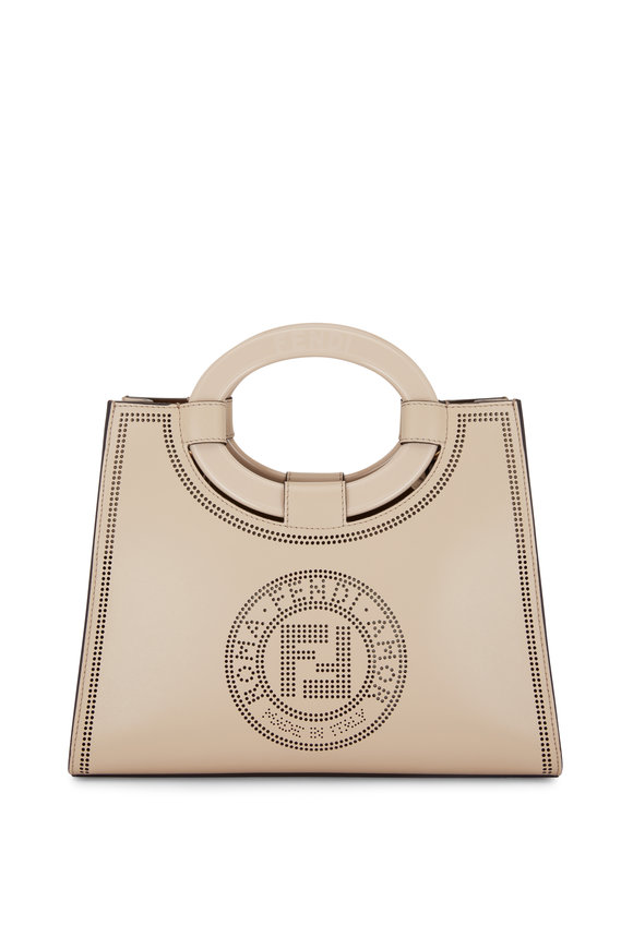 Fendi Runaway Cream Leather Perforated Logo Shopper