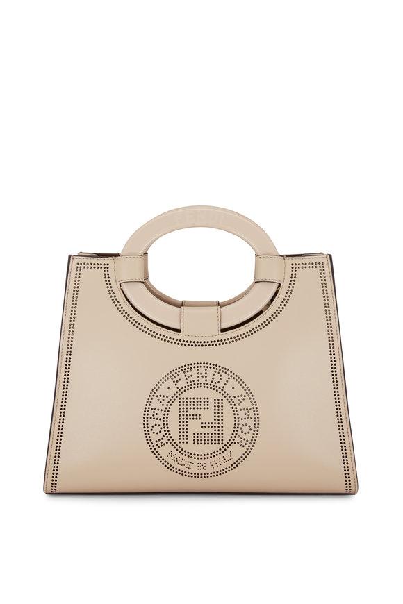 Fendi Runaway Cream Leather Perforated Logo Shopper