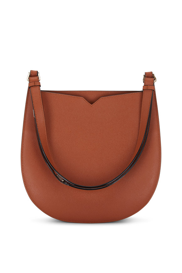 Valextra Weekend Golden Brown Leather Convertible Hobo Bag