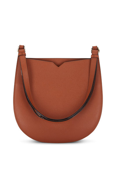 Valextra - Weekend Golden Brown Leather Convertible Hobo Bag
