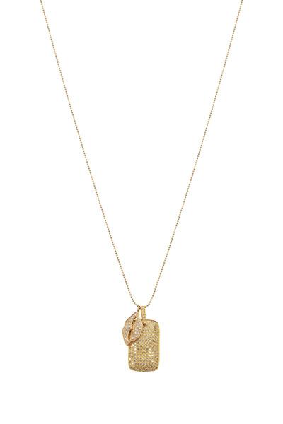 Tulah Jem - Yellow Gold Diamond Lips & Dog Tag Necklace