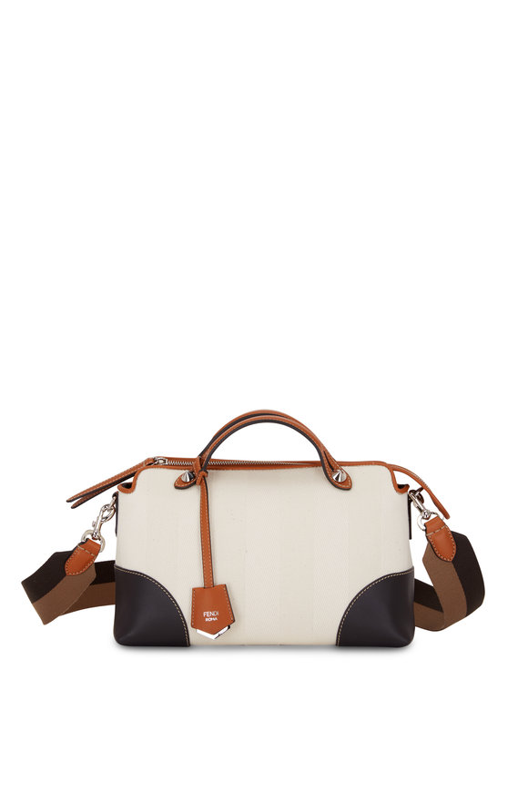Fendi By The Way White Pequin Canvas Satchel Bag
