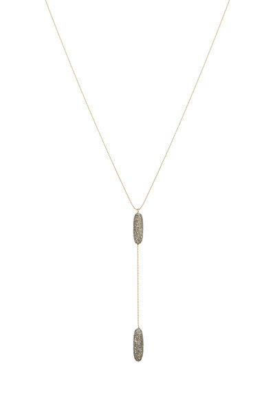 Tulah Jem - Yellow Gold Double Diamond Lariat Bead Necklace
