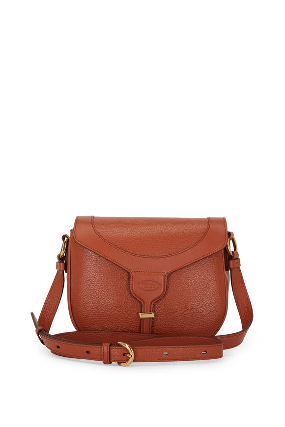Tod's Joy Brick Pebbled Leather Crossbody Bag
