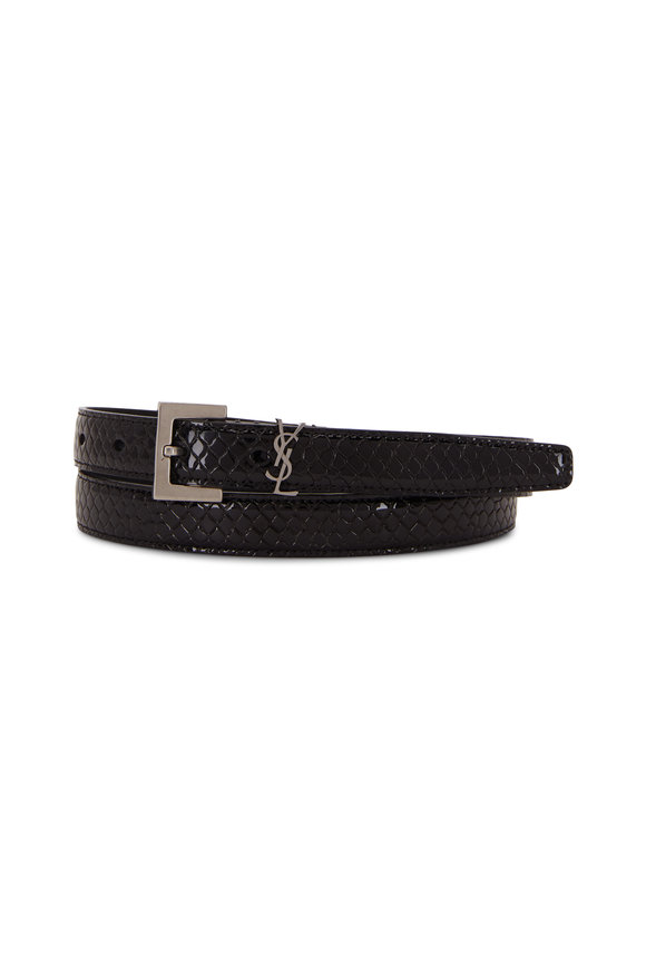 Saint Laurent Black Python Vernis Washed Leather Belt