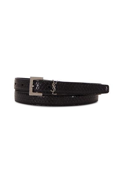 Saint Laurent - Black Python Vernis Washed Leather Belt