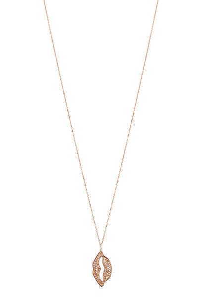 Tulah Jem - Rose Gold Diamond Lips Necklace