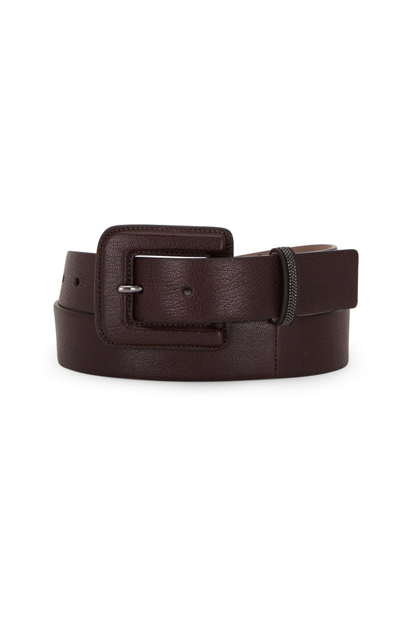 Brunello Cucinelli Brown Grained Leather Monili High-Waist Belt