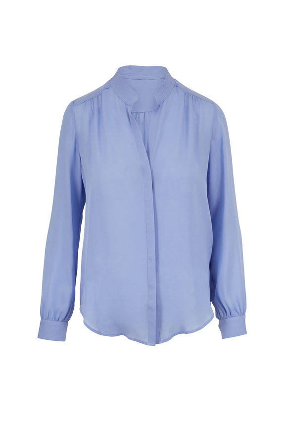 L'Agence Bianca Blue Silk Banded Collar Blouse