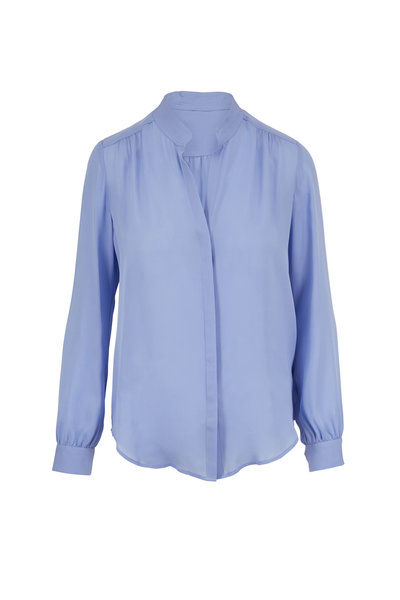 L'Agence - Bianca Blue Silk Banded Collar Blouse