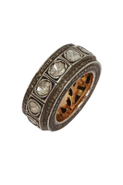 Tulah Jem - Yellow Gold Irregular Raw Diamond Cylinder Ring