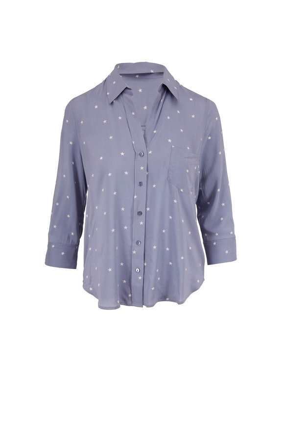 L'Agence Ryan Faded Blue & White Star Print Blouse