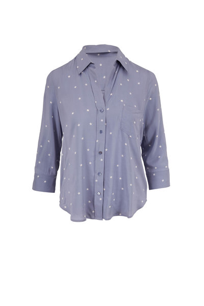 L'Agence - Ryan Faded Blue & White Star Print Blouse