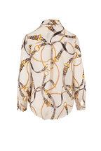L'Agence - Nina Ivory Chain Print Silk Blouse