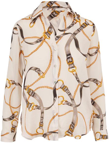L'Agence Nina Ivory Chain Print Silk Blouse