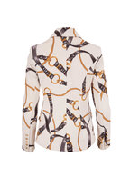 L'Agence - Kenzie Ivory Chain Print Double-Breasted Blazer