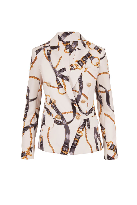 L'Agence Kenzie Ivory Chain Print Double-Breasted Blazer