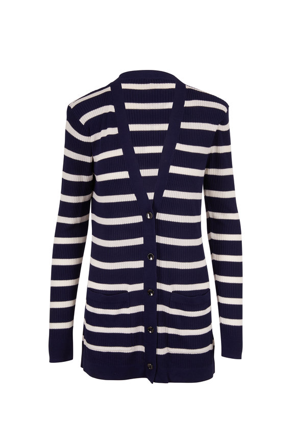 L'Agence Ivory & Midnight Striped Button Front Cardigan