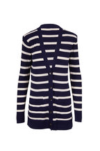 L'Agence - Ivory & Midnight Striped Button Front Cardigan