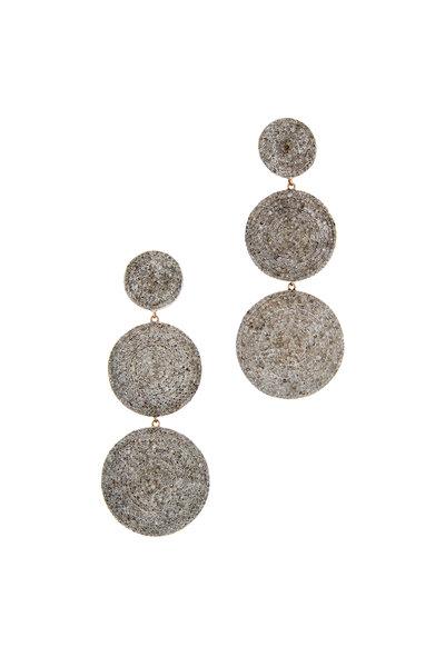 Tulah Jem - Triple Circle White Diamond Earrings