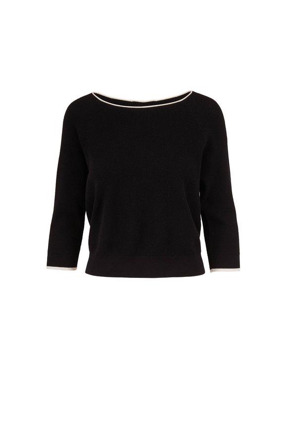 Raffi  Black Cotton Waffle Knit Keyhole Back Sweater