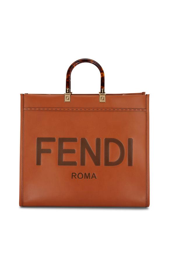 Fendi Sunshine Cognac Leather Logo Shopper Tote