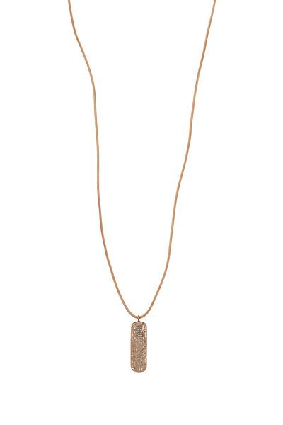 Tulah Jem - Rose Gold & Leather White Diamond Pendant