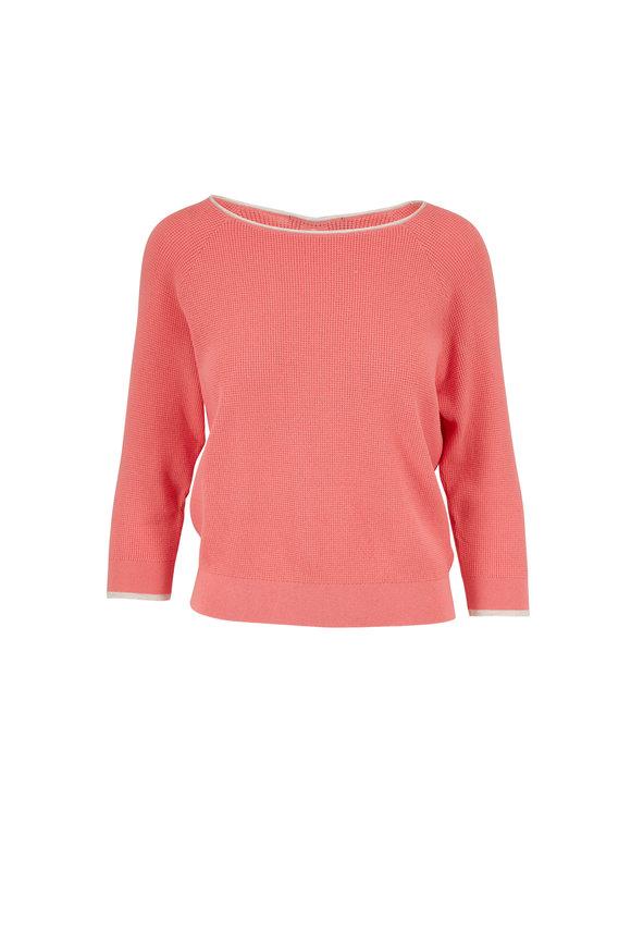 Raffi  Blush Cotton Waffle Knit Keyhole Back Sweater
