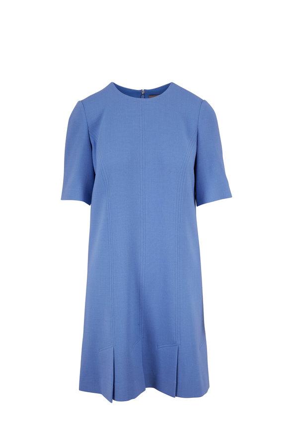 Lela Rose Cornflower Blue Short Sleeve Seamed Tunic Dress