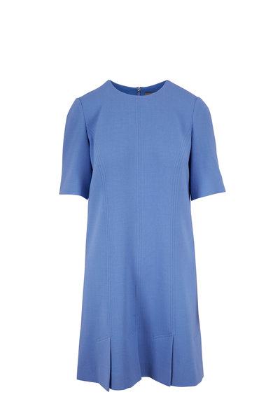 Lela Rose - Cornflower Blue Short Sleeve Seamed Tunic Dress