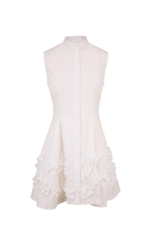 Lela Rose White Stretch Poplin Ruffled Hem Dress