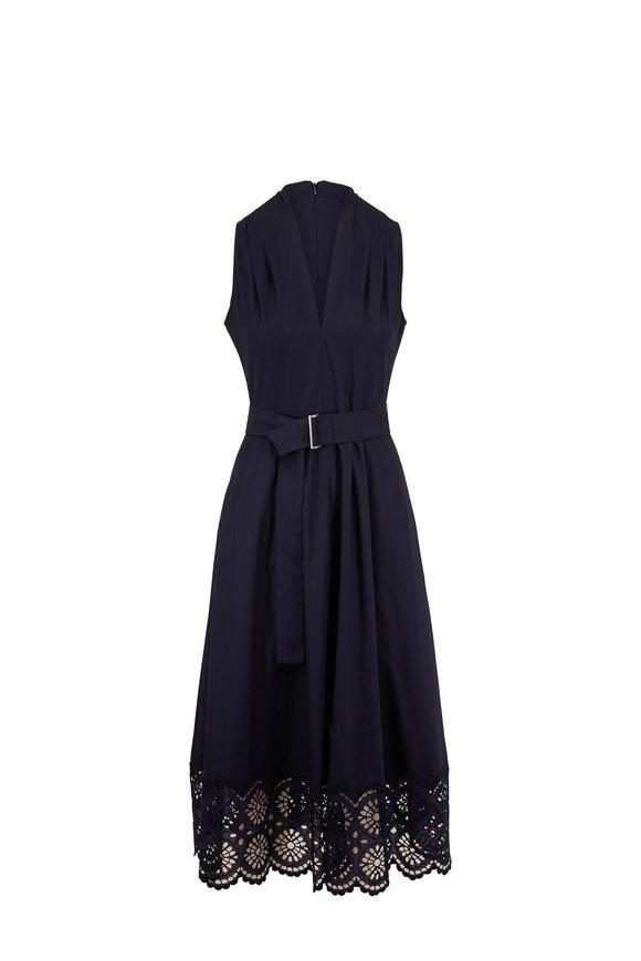 Lela Rose Navy Blue Stretch Cotton Belted Sleeveless Dress