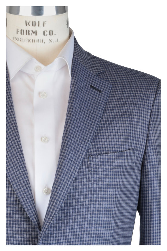 Brioni Navy Blue Check Wool & Silk Sportcoat