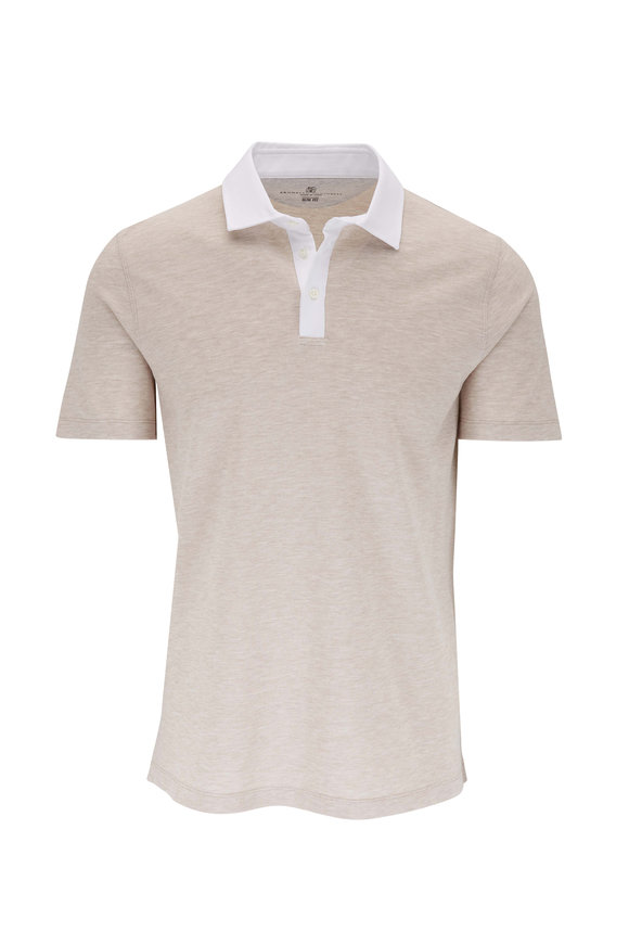 Brunello Cucinelli Beige Contrast Collar Slim Fit Polo