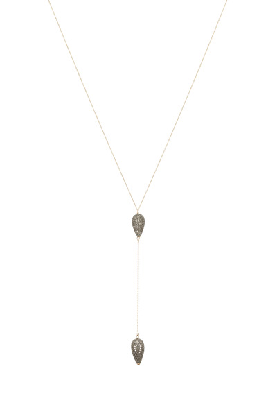 Tulah Jem - Gold Double Pear Bead Lariat Diamond Necklace