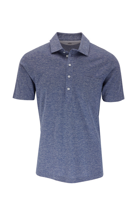 Brunello Cucinelli Blue Melange Cotton & Linen Slim Fit Polo
