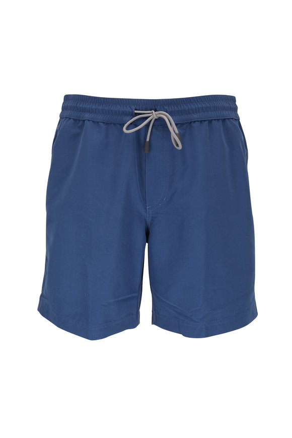 Brunello Cucinelli Solid Blue Swim Trunks