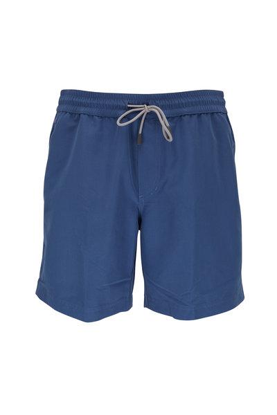 Brunello Cucinelli - Solid Blue Swim Trunks