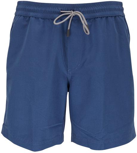 Brunello Cucinelli Solid Blue Swim Trunks