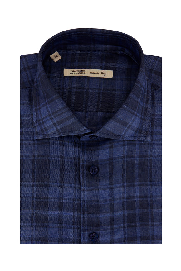 Maurizio Baldassari Navy Blue Tonal Plaid Linen & Cotton Sport Shirt
