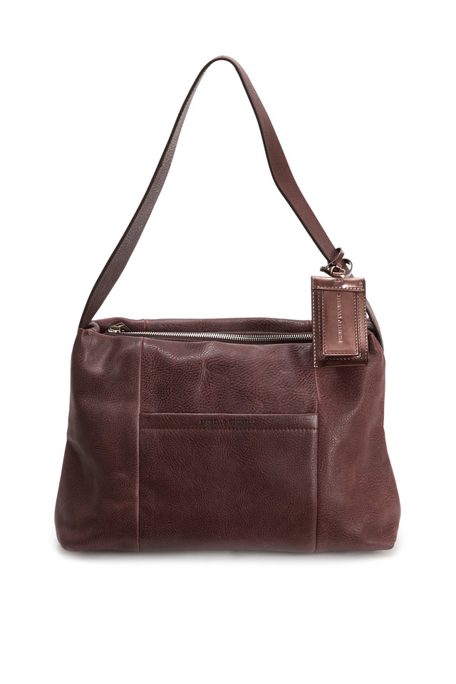 Distressed Prune Leather Shoulder Bag