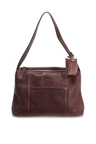 Brunello Cucinelli - Distressed Prune Leather Shoulder Bag