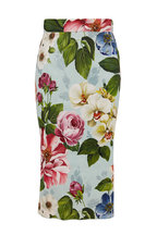 Dolce & Gabbana - Tubino Light Blue Floral Midi Pencil Skirt